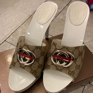"Authentic Gucci ""GG"" mule slide platform sz 10.5"